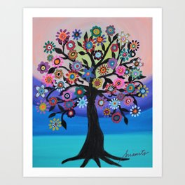 Whimsical Blooming Love Tree of Life Painting Art Print