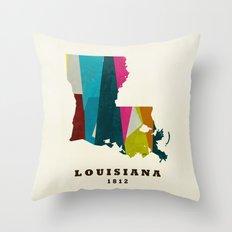 louisiana state map modern Throw Pillow