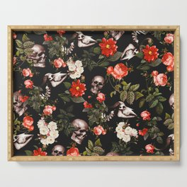 Floral and Skull Pattern Serving Tray