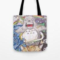 miyazaki Tote Bags featuring Miyazaki Mash-Up by Loveless D. Grim