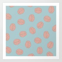 brain waves Art Prints featuring Brain  by Minimum