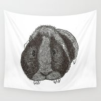 pig Wall Tapestries featuring Guinea Pig. by Elena O'Neill