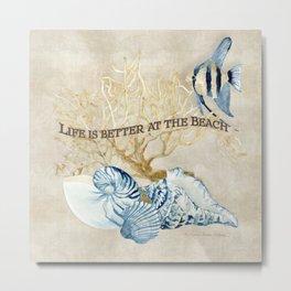 Indigo Ocean Sea Shells Angelfish Coral Watercolor Artwork Metal Print