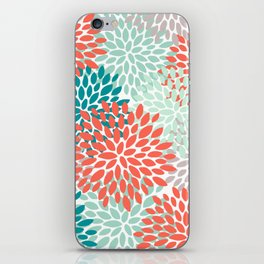 Floral Pattern, Living Coral, Teal and Mint Green iPhone Skin
