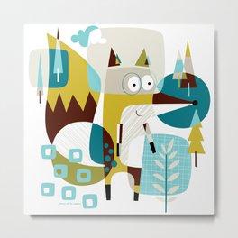 Fox In A Box Metal Print