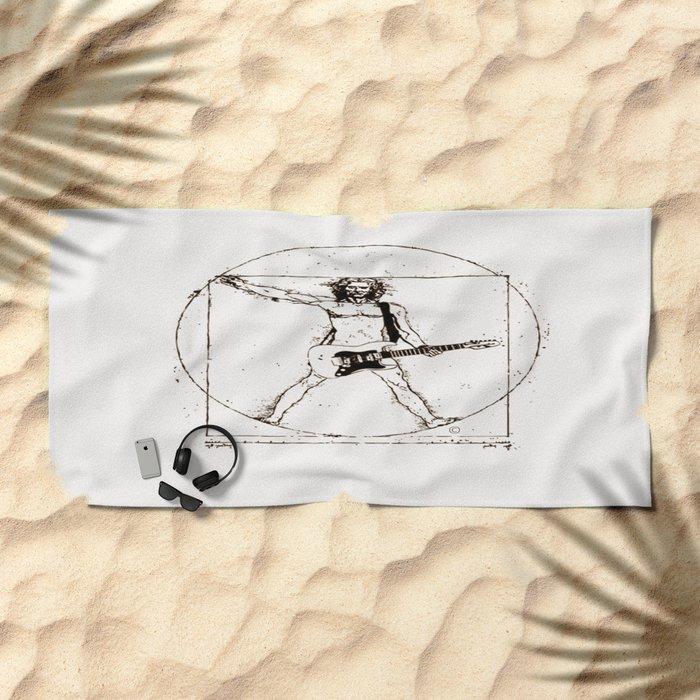 Guitar Man and Da Vinci Beach Towel