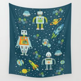 Robots in Space - Blue + Green Wall Tapestry