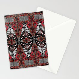 NUMBER   220 RED BLACK WHITE GRAY PATTERN Stationery Cards
