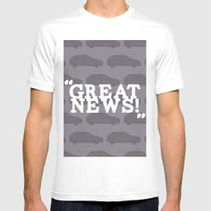 Great News White MEDIUM Mens Fitted Tee
