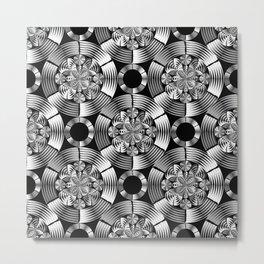 Shiny metallic damask Metal Print