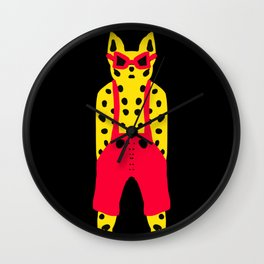 Leopard in Dungarees - Cool for Cats! Wall Clock