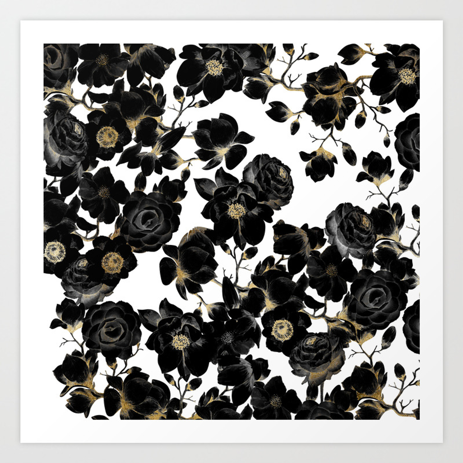 Modern Elegant Black White And Gold Floral Pattern Art Print By