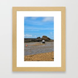 Boat at low tide - Bude, England Framed Art Print
