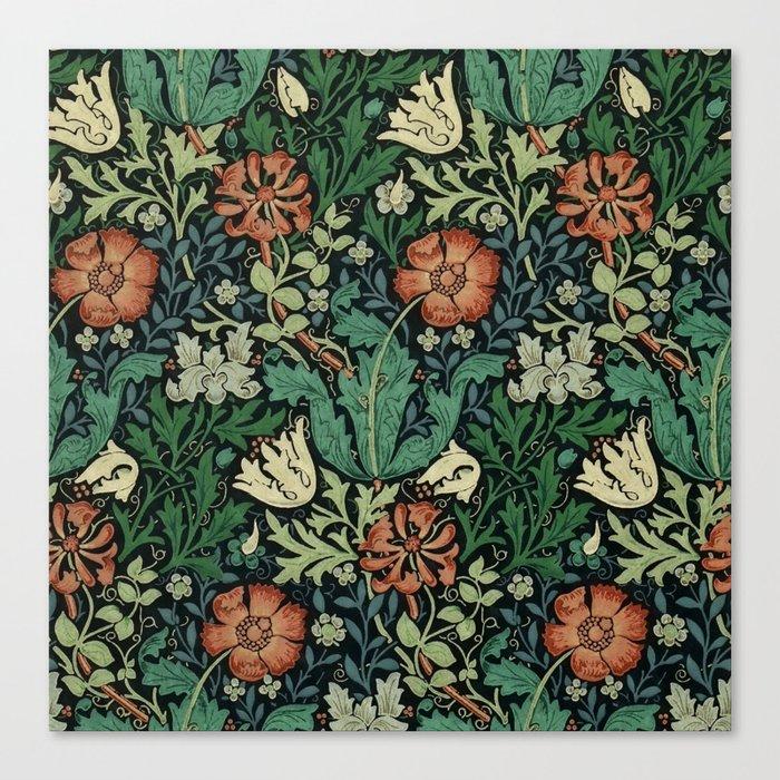 William Morris Compton Floral Art Nouveau Pattern Leinwanddruck