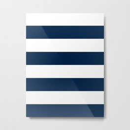 Wide Horizontal Stripes - White and Oxford Blue Metal Print