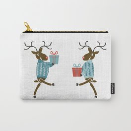 Funny christmas reindeer in sweaters with gifts Carry-All Pouch