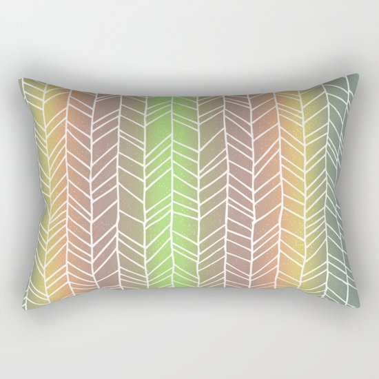 Colorful Rainbow Feather Pattern Rectangular Pillow