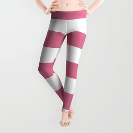 Pale red-violet -  solid color - white stripes pattern Leggings