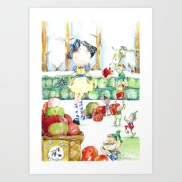 Snow White and the cooperative. Art Print