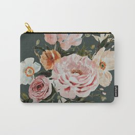 Loose Peonies and Poppies on Vintage Green Carry-All Pouch