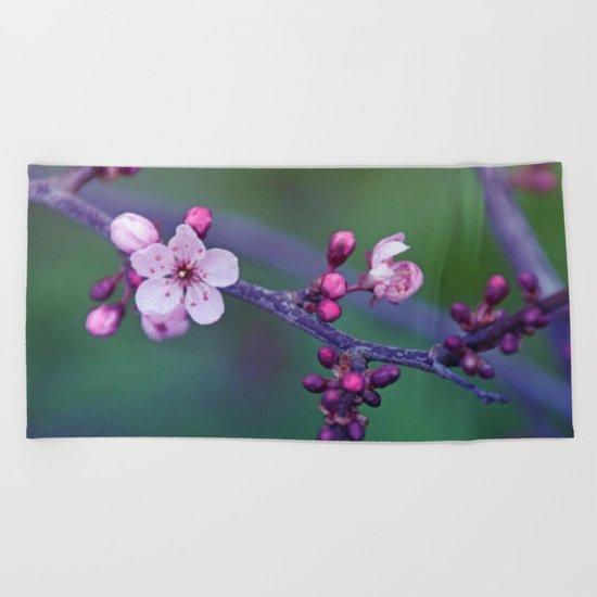 Dreamy purple Cherry Blossom Beach Towel