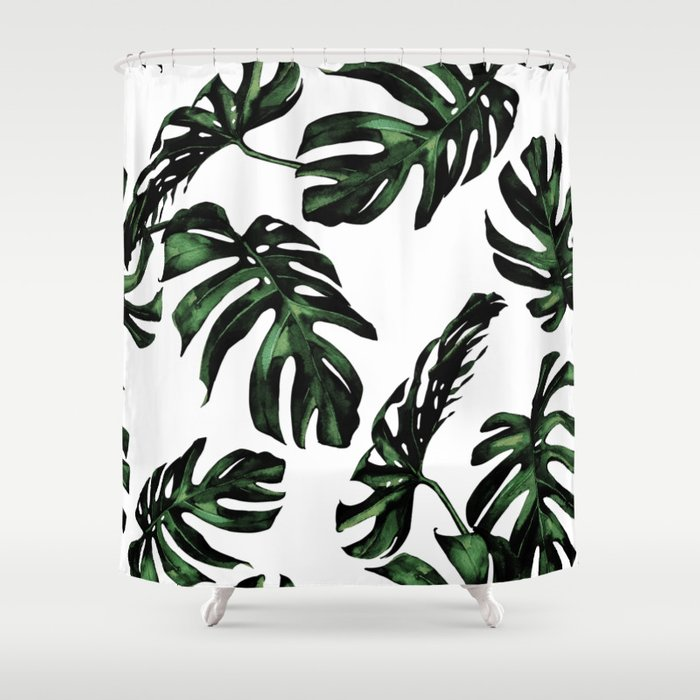 Tropical Green Palm Leaves Shower Curtain by naturemagick | Society6