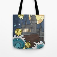 hogwarts Tote Bags featuring Hogwarts by Lacey Simpson