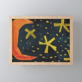 Squareland - moon and stars Framed Mini Art Print