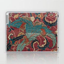 Flowery Arabic Rug I // 17th Century Colorful Plum Red Light Teal Sapphire Navy Blue Ornate Pattern Laptop & iPad Skin