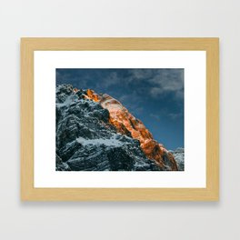 Glowing mountain at sunset Framed Art Print