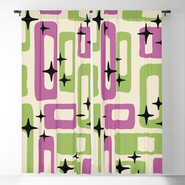 Retro Mid Century Modern Abstract Pattern 229 Purple and Olive Blackout Curtain