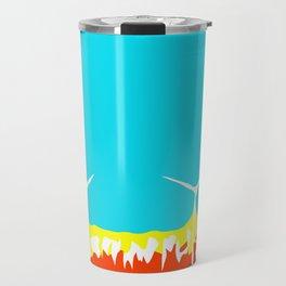 wind turbine in the desert with blue sky Travel Mug