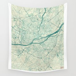 Nantes Map Blue Vintage Wall Tapestry