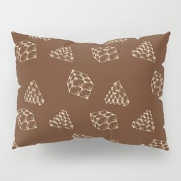 the pyramids and cubes on a brown background . artwork Pillow Sham
