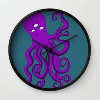 occult Wall Clocks featuring Occult Octopus by mystmoon