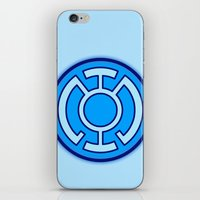 green lantern iPhone & iPod Skins featuring Green Lantern: Blue Lantern by The Barefoot Hatter