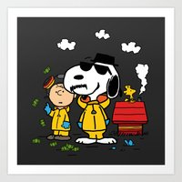peanuts Art Prints featuring Breaking Peanuts by Maioriz Home