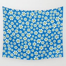 Dizzy Daisies - royal blue - more colors Wall Tapestry