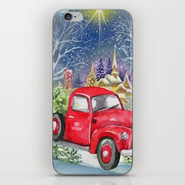 Red Truck With Christmas Tree iPhone Skin