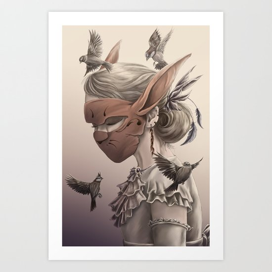 hare and sparrow Full colour  Art Print