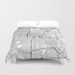 Minneapolis Map White Duvet Cover