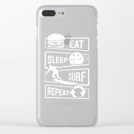 Eat Sleep Surf Repeat - Surfboard Sea Beach Boy Clear iPhone Case