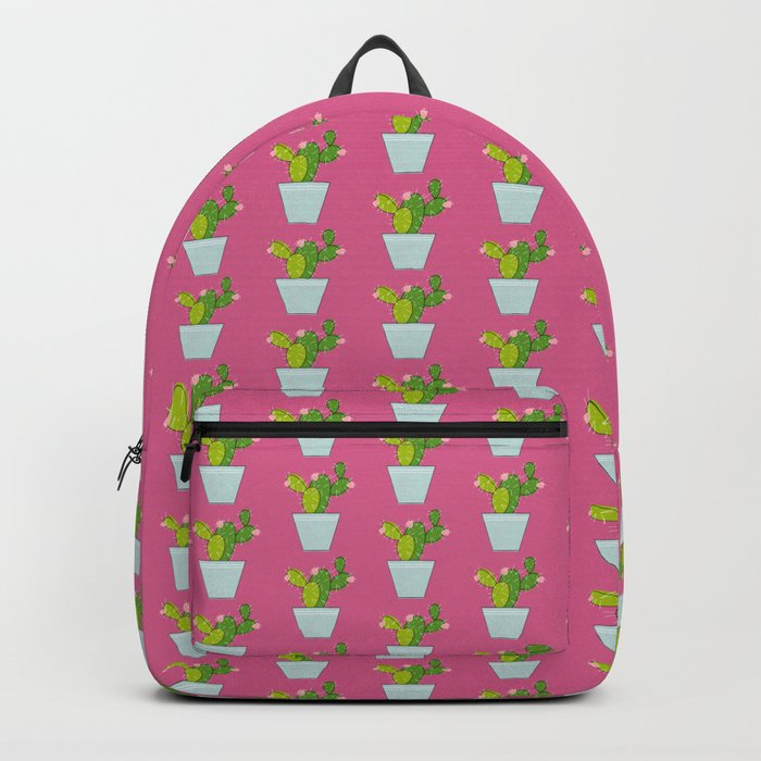 Blooming Cactus on Mulberry Pink Backpack