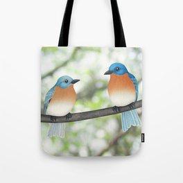 eastern bluebirds and bokeh Tote Bag