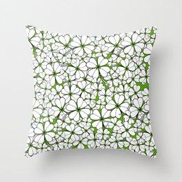 Line art - Clover : Green Throw Pillow