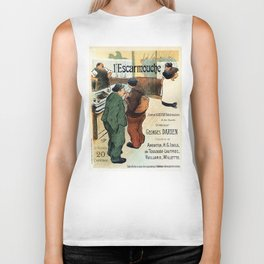 L'Escarmouche Vintage French bar scene Biker Tank