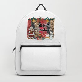 Merry Christmas Quote Santa Claus Snowmen Colorful Pattern Backpack