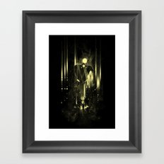 Giant robot and the kid Framed Art Print