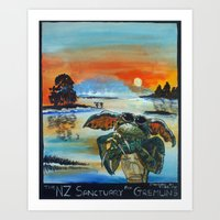 gremlins Art Prints featuring The NZ Sanctuary For Gremlins by Tony Heath