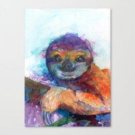 Sloth Mixed Media on Yupo Canvas Print